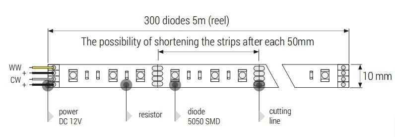 MAX-LED strip 5050 SMD 300 LED multi white IP20 diagram product dimensions