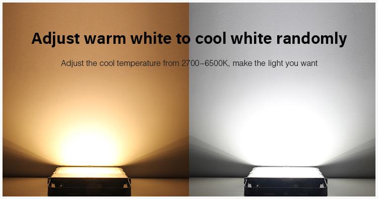adjustable warm white cold white light output 2700-6500K