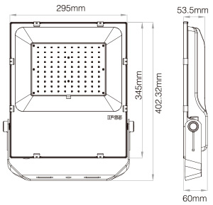 Mi-Light 100W RGB+CCT LED floodlight FUTT07 technical picture size dimensions on white backgroud
