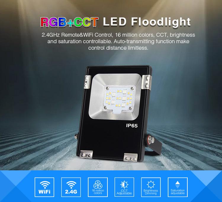RGB+CCT LED smart remote controlled floodlight FUTT05 Mi-Light