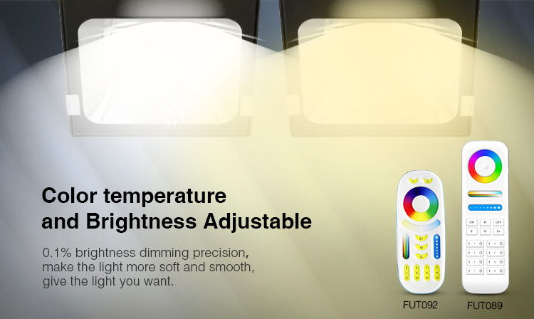 colour temperature and brightness adjustable floodlights FUTT05 FUT092 FUT089 remote controllers