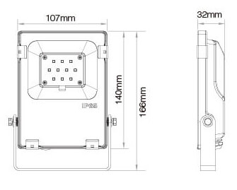 Mi-Light 10W RGB+CCT LED floodlight FUTT05 size dimensions technical picture
