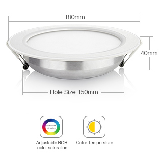 Mi-Light 12W RGB+CCT LED downlight FUT066 size dimensions technical picture