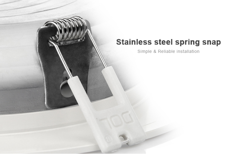 Stainless steel spring snap clips to hold the smart RGB+CCT downlight in place
