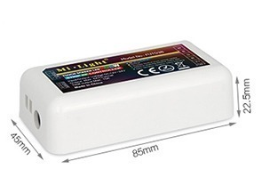 Mi-Light 2.4GHz 4-zone RGBW LED strip controller FUT038 size dimensions technical picture