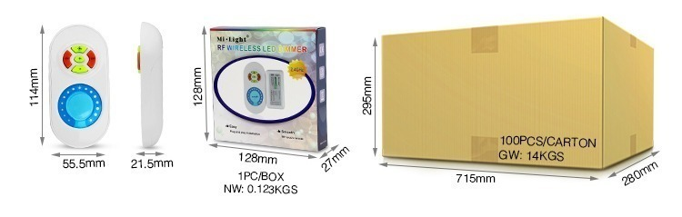 wholesale packaging retail box product size and weight Mi-Light 2.4GHz LED strip dimmer FUT021