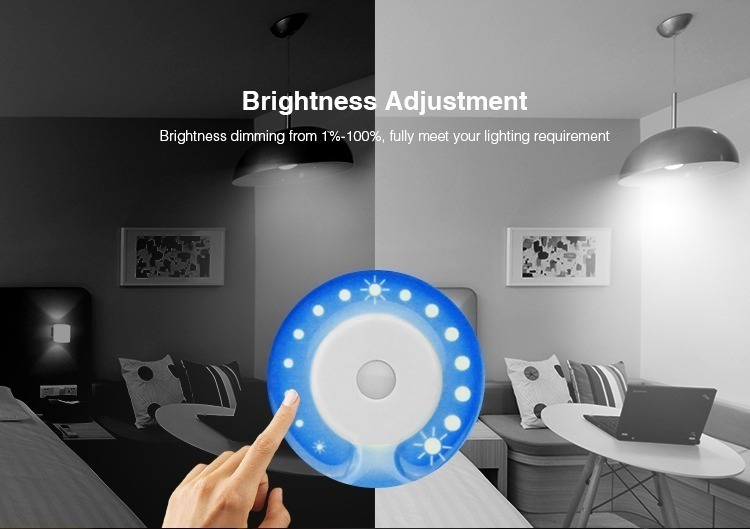 brightness adjustment of Mi-Light 2.4GHz dual full touch 4-zone remote controller FUT091