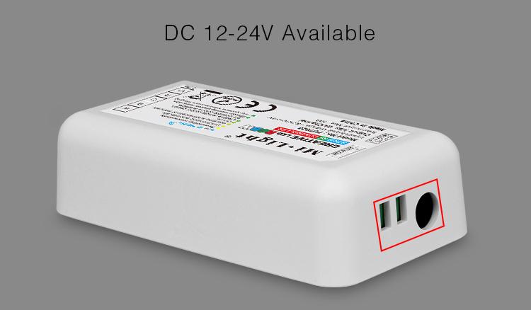 Mi-Light 2.4GHz manual & auto adjustable RGBW strip controller FUT028 power supply 12V 24V DC jack