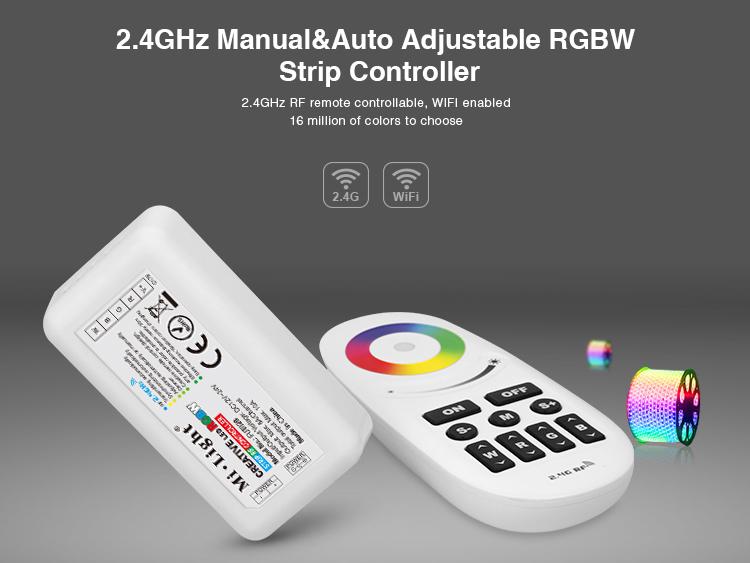 Mi-Light 2.4GHz manual & auto adjustable RGBW strip controller FUT028 features