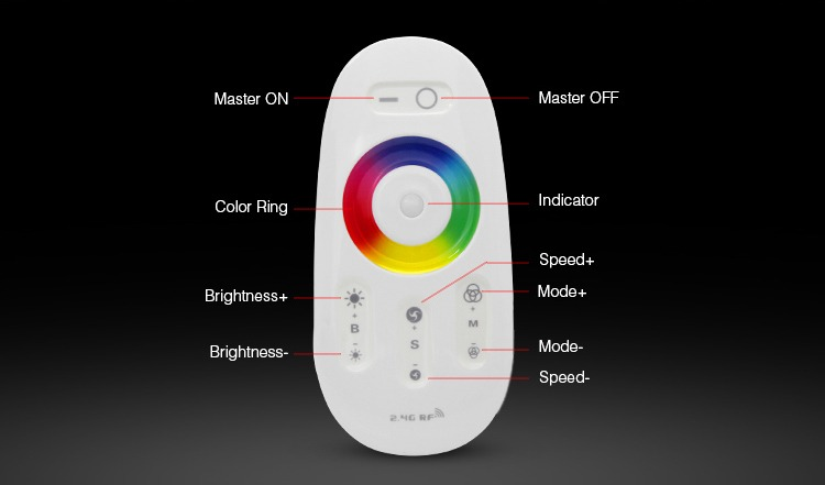 remote control funcions Mi-Light smart lighting ON OFF dim colour ring mode speed up speed down