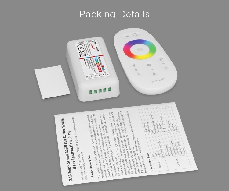 packaging detail LED RGBW lighting tape controller remote double-sided adhesive pad user manuals