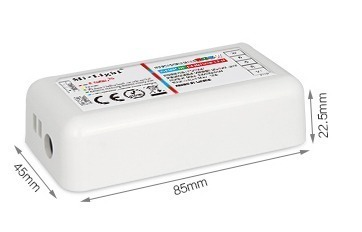 Mi-Light 2.4GHz touch RGBW LED strip controller FUT027 size dimensions technical picture