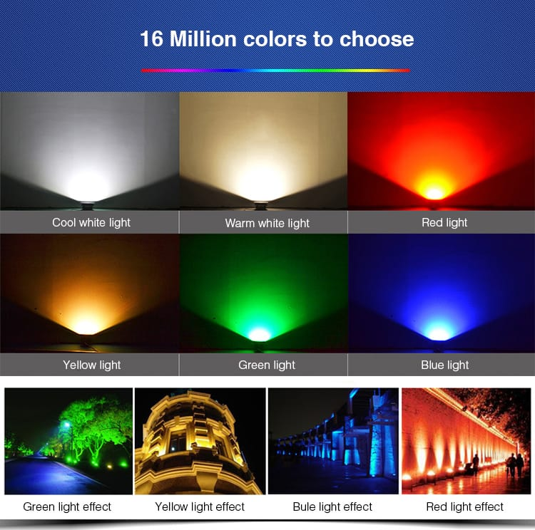 16 million colours RGB+CCT LED smart floodlight cool white warm white red yellow green blue cold