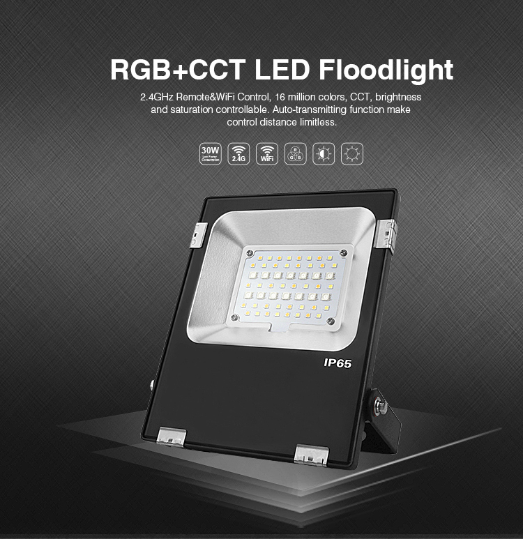 RGB+CCT LED floodlight 2.4GHz remote and Wi-Fi control 16 million colours brightness and saturation adjustable