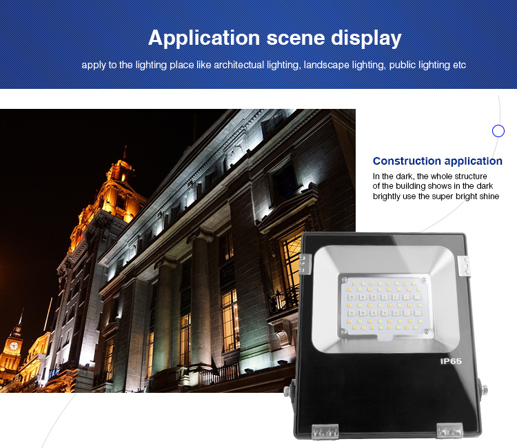 application scene display apply to the lighting place like architectual lighting LED floodlight