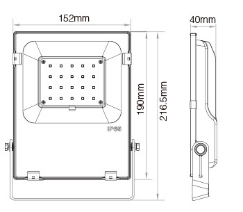 Mi-Light 20W RGB+CCT LED floodlight FUTT04 size dimensions technical picture