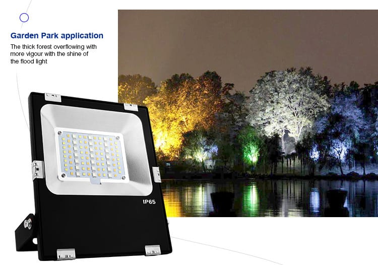 smart LED floodlight multicolour RGB+CCT garden park application