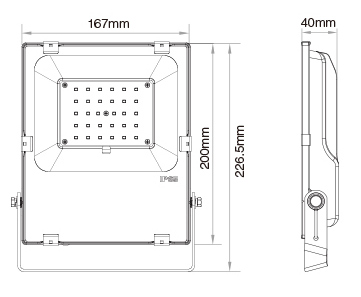 Mi-Light 30W RGB+CCT LED floodlight FUTT03 size product dimensions technical picture