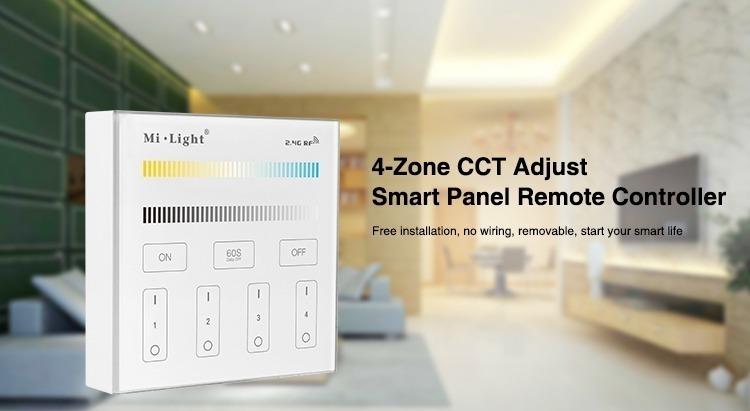 Mi-Light 4-zone CCT adjust smart panel B2 smart wall panel Alexa compatible
