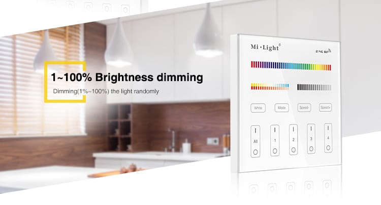 1-100% dimming change or adjust the brightness to your needs with our smart wall panel controller by milight