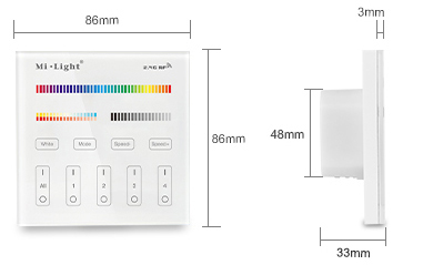 Mi-Light 4-zone RGB+CCT smart panel remote controller T4 size product dimensions technical picture