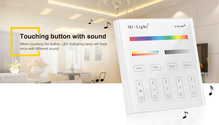 touch buttons and they will give a sound see what you do hear what you do milight smart lighting control