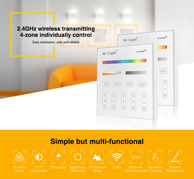 2.4GHz wireless transmitting 4-zone individual or group control LED RGB+CCT lighting smart home LED strips mains wall panel
