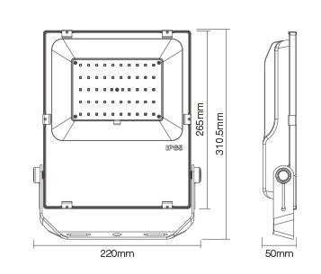 Mi-Light 50W RGB+CCT LED floodlight FUTT02 size technical picture black and white