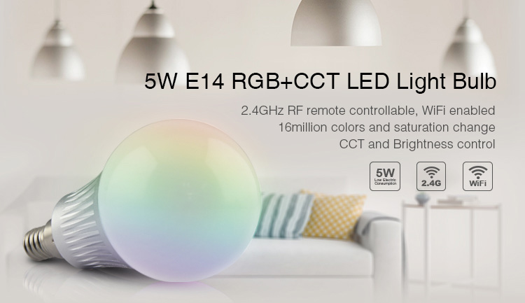 Mi-Light 5W E14 RGB+CCT LED light bulb FUT013 CCT and brightness control