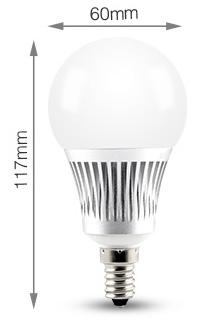 Mi-Light 5W E14 RGB+CCT LED light bulb FUT013 size product dimensions technical picture