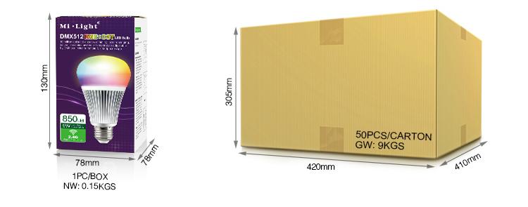 Mi-Light 8W DMX512 RGB+CCT LED light bulb FUTD03 wholesale and retail box colourful packaging shop logistics