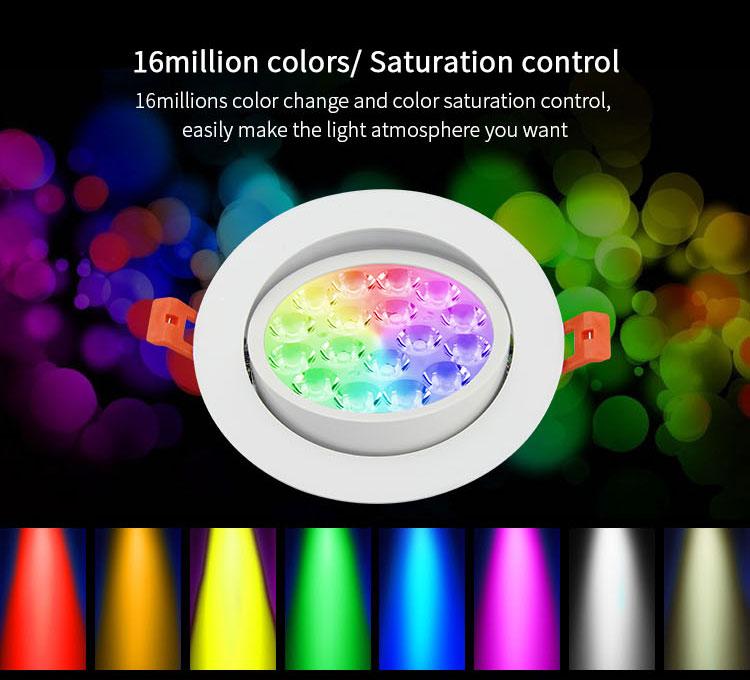 Mi-Light 9W RGB+CCT LED ceiling spotlight FUT062 16 million colours ceiling lights