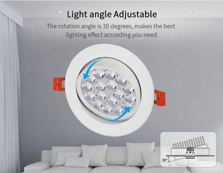 Mi-Light 9W RGB+CCT LED ceiling spotlight FUT062 light angle adjustable