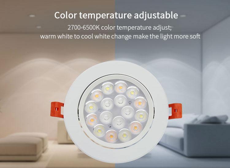 Mi-Light 9W RGB+CCT LED ceiling spotlight FUT062 colour adjustable 2700K-6500K