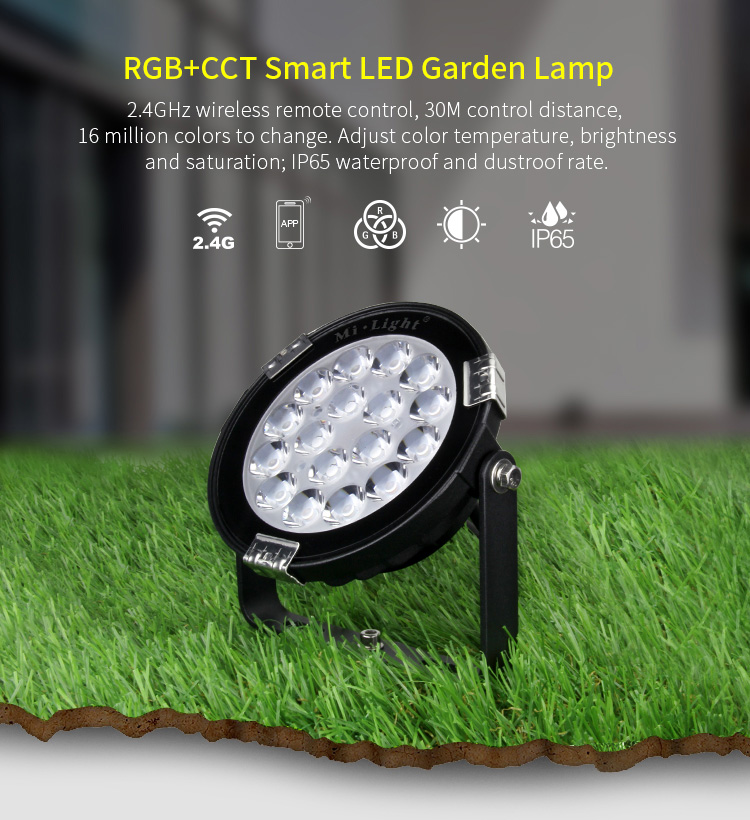 Mi-Light 9W RGB+CCT LED garden light FUTC01 features outdoor multicolour remote controlled lamp