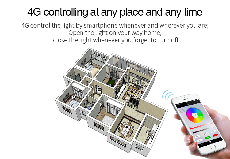 4G controlling at any place and any time Mi-Light 9W RGB+CCT LED light bulb FUT012