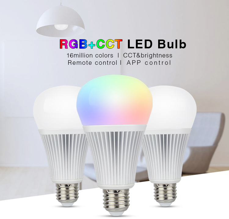 Mi-Light 9W RGB+CCT LED light bulb FUT012 features remote control app control internet