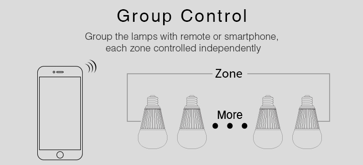 group control zone control lamps smart lighting remote and smartphone app control