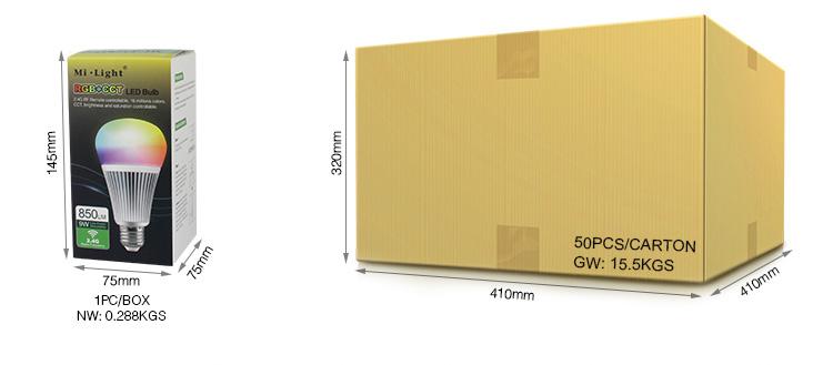 Mi-Light 9W RGB+CCT LED light bulb FUT012 packaging retail and wholesale box