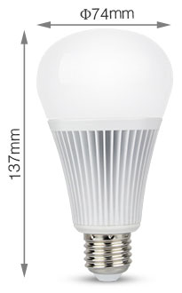 Mi-Light 9W RGB+CCT LED light bulb FUT012 size product dimensions technical picture