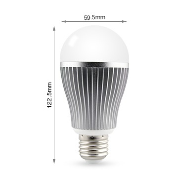 Mi-Light 9W dual white LED light bulb FUT019 size product dimensions technical picture