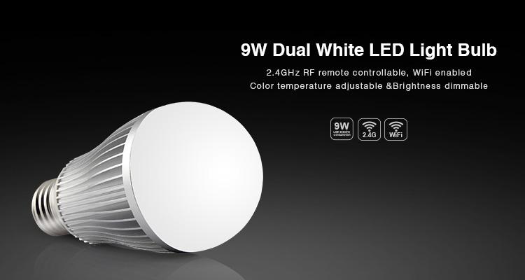 FUT019 9W bulb on E27 base dual white LED 2.4GHz RF Wi-Fi smart bulb CCT
