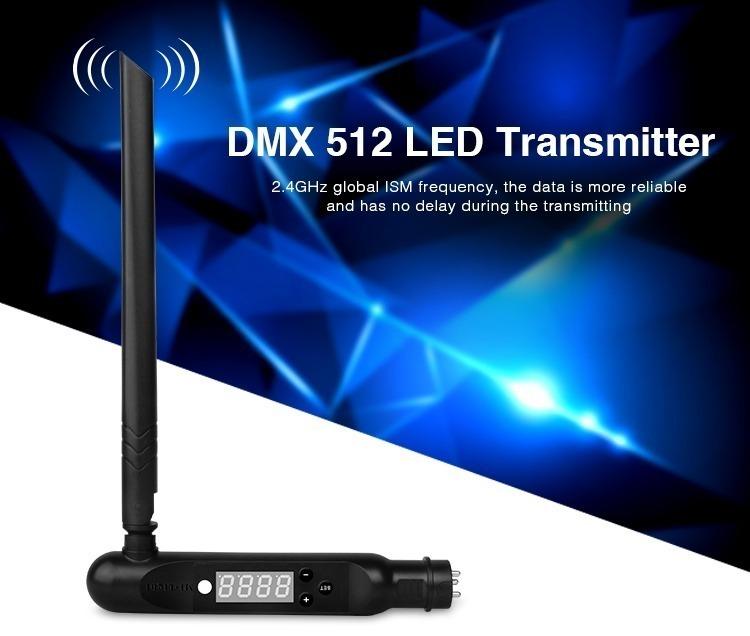 DMX 512 LED transmitter Mi-Light product black antena blue colour background