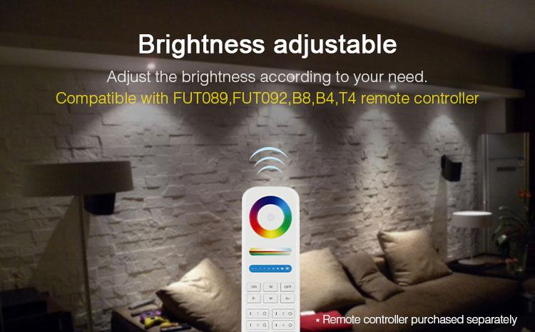 Mi-Light IP54 waterproof 15W RGB+CCT LED downlight FUT069 brightness adjustable compatible with FUT089 FUT092 B8 B4 T4 remote controllers