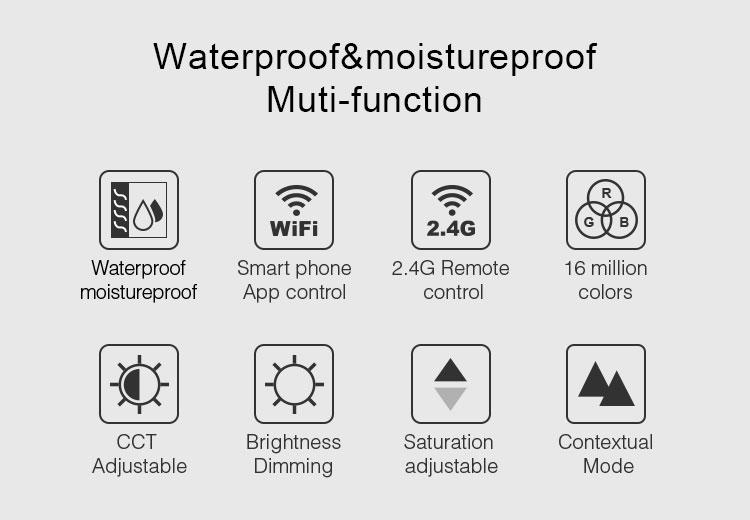 Mi-Light IP54 waterproof 15W RGB+CCT LED downlight FUT069 multi-function smart phone controlled RF technology WiFi