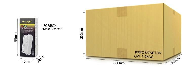 Mi-Light RGB LED strip controller FUT043 retail packaging wholesale box smart lighting supplier