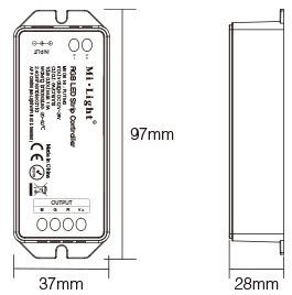 Mi-Light RGB LED strip controller FUT043 size dimensions technical picture