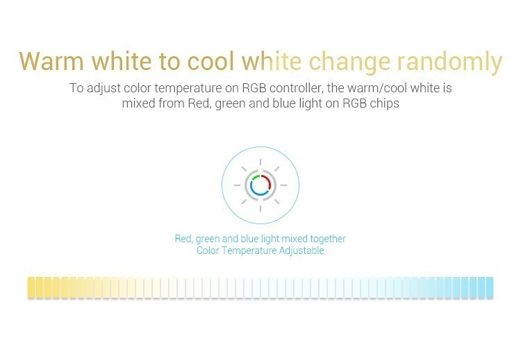 warm white to cold white CCT control adjust the light temperature RGB