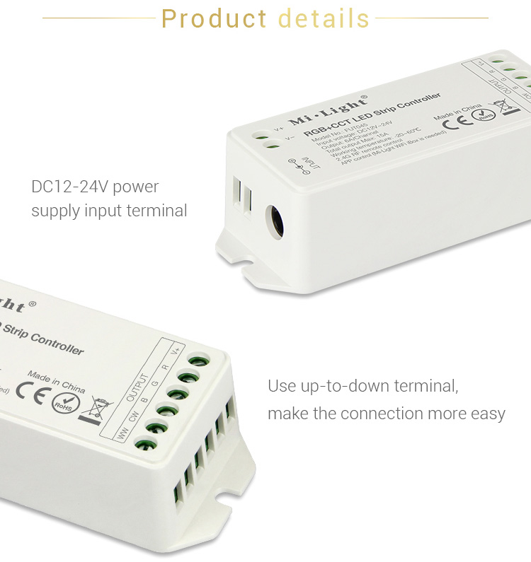 product details DC12-24V use up to down terminals to make the connection more easy power supply