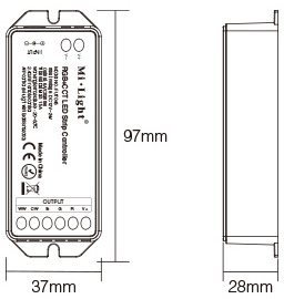 Mi-Light smart Wi-Fi controller size technical picture dimensions